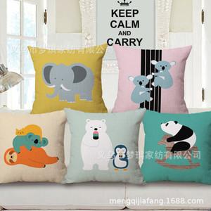Meng Qi Textiles para el hogar Dibujos animados animales Geometría concisa Abrazo Funda de almohada Cojín de algodón Juego