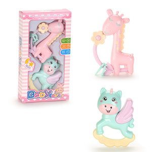 TW2004054 Baby Rattles Round Corner Giraffe and flying horse Newborn Handbell Soft Color Eco-Friendly Material