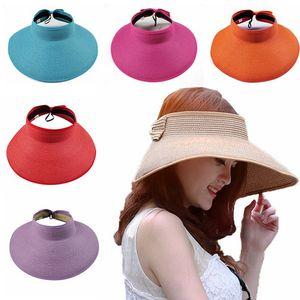 Boho соломенной шляпе Женщина Большого Floppy Visor Hat Складной Summer Beach Vacation Широкого Брим Шляпа Bow Солнцезащитный Caps HHA1317