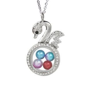 Magnetic Elegant Swan Glass Living Memory Locket Pendant Pearl Cage Floating Charms Pendant Necklace With Steel Chain