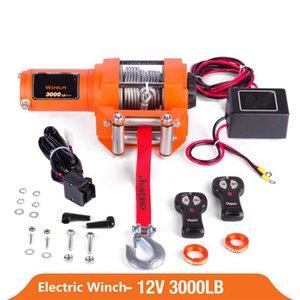 12 в электрический лебедка 3000LB с проволочной веревкой + монтажная пластина + беспроводной пульт дистанционного управления сверхмощный ATV лебедка