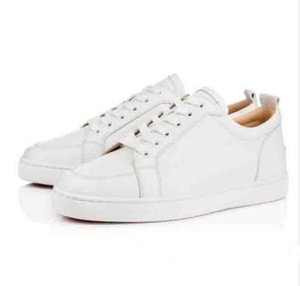 High Quality Brands New White,Black Leather Rantulow Casual Shoes Men,Women Flat Luxurious Low Top Red Bottom Sneakers xshfbcl