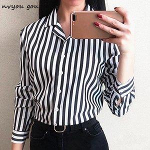 nvyou gou pulsante della banda delle donne a maniche lunghe in chiffon camicia camicetta giù Office Lady casual Estate Autunno Top Plus Size 2019 Moda Y200623