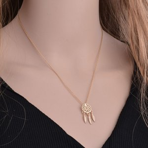 2020 new party fashion hollow feather dream catcher pendant necklace birthday gift for girls or women