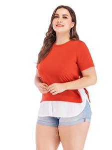 Pengpious europeu moda design grande tamanho mulheres t-shirt mangas curtas de algodão faux duas peças tee plus size