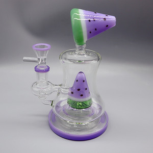 2020 novas 7 polegadas bongs de água de vidro da melancia tema 14mm femininos bongs da tubulação de água queimador de óleo conjunta de reciclagem de vidro
