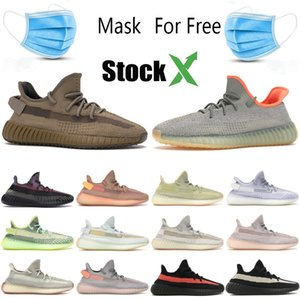 Com Máscara Terra Kanye West Desert Yecheil Preto estática Yeshaya Reflective Designer Sneakers V2 argila do fulgor da zebra Marsh Homens Mulheres Trainers