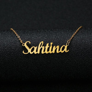 2020 New Gold Silver Color Personalized Custom Name Pendant Necklace Customized Cursive Nameplate Necklace Women Handmade Birthday Gift