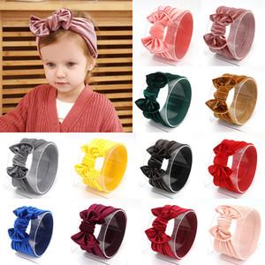 14 Farben-Baby-Samt-Bogen-Stirnbänder Mädchen Big Bowknot elastische Haarbänder Fest Farbe Turban Kopfbedeckung-Kopf-Verpackungs-Haar-Zusätze M2479