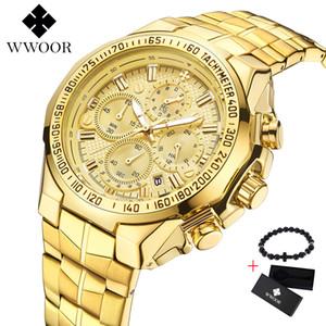 Wwoor Marca de Lujo Gran Dial Hombres Reloj Militar Reloj de Cuarzo de Acero Inoxidable Deporte Casual Negocio Reloj de Oro Reloj de Los Hombres Y19051703