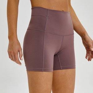 La alta cintura de las mujeres pantalones cortos de yoga color sólido LU-31 Sports Gym pantalones polainas desgaste elástico aptitud Señora general Pantalones cortos para correr