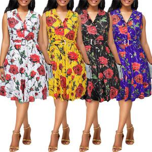 Fairy2019 Xia Spring Suit-robe européenne haut de gamme impression Rose sera pendule jupe génération sans manches Self-cultivation Dress