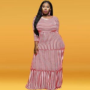Kadın tasarımcı elbise zaten 2020 Avrupa ve Amerikan kadın sınır ötesi patlama modelleri çizgili dokuz maddelik kol dantel elbise büyük beden