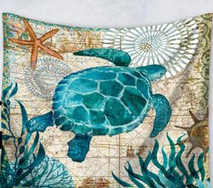 Novo Design Sea Turtle Waterproof Shower Curtain Cortinas Octopus Início Banho com 12 Hooks poliéster Bath Curtain