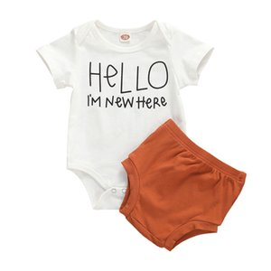 Newborn Baby Girls Outfits Letter Print New Here Cotton Romper Short Sleeve Jumpsuit High Waist Brown Shorts Hello Set 0-24M