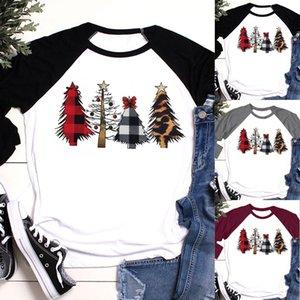 Женская Рождественская елка печати плед рукав футболки Рождество с длинным рукавом топы блузка