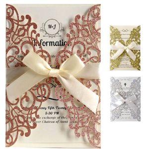 Rose Gold Glitter Laser Cut Convites Cartões Com Fitas de casamento do chá de panela da festa de aniversário Engagement graduação XD21513