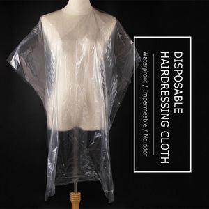 Desechable peluquería del cabo del mantón de la ondulación permanente del pelo teñido del cabo del vestido del salón de pelo Capas bufanda transparente membrana impermeable de tela 90x135cm 50pcs / Set