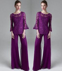 Klas Mor Dantel Anne Gelin Pant Suits Sheer Jewel Boyun Uzun Kollu Düğün Konuk Elbise Artı Boyutu Şifon Anneler Damat Elbiseler