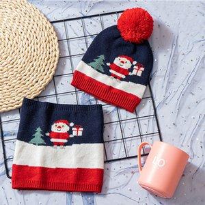 Bebé de la Navidad de la bufanda de la bola Sombreros impone límites máximos del árbol de Navidad de los niños de rayas bufandas del muñeco de punto Beanie cráneo Warm Caps Pañuelo LJJA3555-2