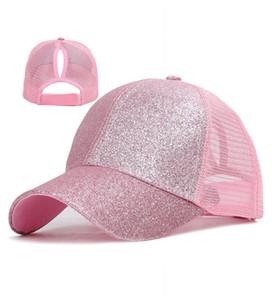 Hot Selling 8 color Ponytail CC Baseball hat Girl Softball hats back hole Pony Tail Glitter Mesh Baseball CC Cap