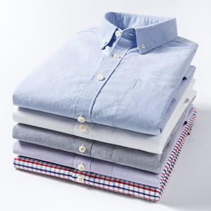 Pura camisa de vestir de algodón Oxford alta calidad de los hombres de manga larga a cuadros Moda raya sólido blando Social Business Inteligente camisa casual