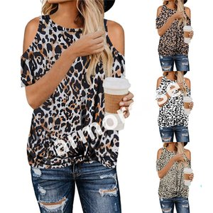 Kadınlar Leopard Tişörtlü Zebra Kamuflaj Knot Çapraz Yaylar Kapalı Omuz Tees Kadın Tişört Knot Bluz Seksi Çıplak Kol Tişört CZ328 çevirin Tops