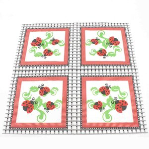20pcs / pack Red Marienkäfer Einwegpapierservietten Heim-Party-Dekoration Supplies Dot Lattice Kindergeburtstag Geschirr 33x33cm