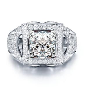 Lujo 2ct Solitaire secundarios Piedras Moissanites princesa anillo 4 Ajuste del diente de oro blanco 14k crecidas laboratorio anillo de diamante para las mujeres Señora S200110