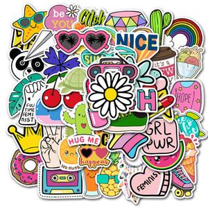 Düşük Fiyat Promosyonlar INS tarzı Çizgi Küçük Taze Araba Bavul Çıkartma Süper su geçirmez Graffiti Bavul Araba Etiketler 50Pcs / lot