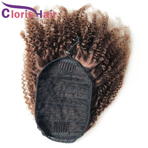Drawstring Human Hair Ponytail Afor Kinky Curly Peruvian Remy Hairpiece Pony Tails With Clip Ins For Black Women #4 Dark Brown Extensions
