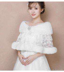 Kış Düğün Ceket Gelin Faux Kürk Sarar Sıcak Şallar Giyim Sarktı Kadın Dantel Rhinestone Kristaller Ceket Balo Akşam