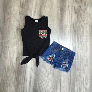 bambino copre i capretti delle ragazze abiti estivi Jeans Shorts waiscoat nero ragazze boutique abiti