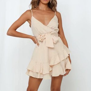 Foridol sexy della cinghia di spaghetti Abito a portafoglio donne Sash Ruffle Beach Summer Dress Boho Breve Sundress Backless