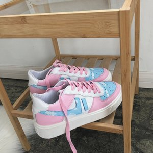 Fujin Женщины квартиры Gilrs Sweet Pink Flat кроссовки дышащий Весна Осень Женский зашнуровать обувь Повседневная обувь платформы обувь