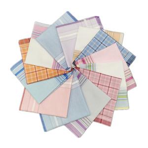 남자 손수건 수건 100 %면 빈티지 격자 무늬 줄무늬 손수건 남성 비즈니스 캐주얼 포켓 사각형 냅킨 타월