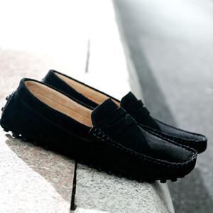 Мужчины Подлинная Мокасины кожаные ботинки скользят по мокасины обувь замши Faux Мокасины Человек Footwears вскользь дышащий Мужчины плоские ботинки