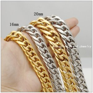 "Hotsale Huge Heavy Fashion Jewel 316L Stainless Stainl Steel 16mm / 20mm Silver Curb Cuban chain Gold Selects Man's Boy's Selips 22 "" - 30"""