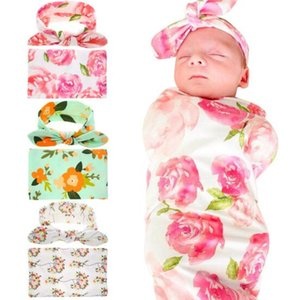 Kids Muslin Swaddles Ins Wraps Blankets Nursery Bedding Newborn Organic Cotton Ins Floral Print Swaddle + Headband two piece sets