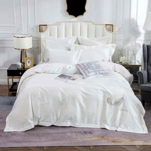2019 Milky White Feathers Bedding Set Embroidery Egyptian Cotton Bedlinens Queen King Size Duvet Cover Set Cushion Covers T200415