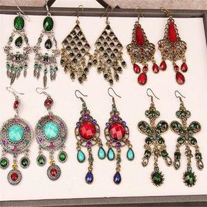 New Vintage Gold Alloy Long Tassel Earrings For Women Bohemian Style Mix Style Gemstone Flower Aniaml Dangle Drop Earring