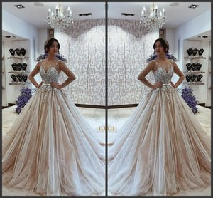 Pas cher robe de bal à manches longues robes de mariée musulmanes Sheer manches africaine Beidal Robes Princess Country Wedding Dress 2019