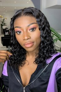 Lucky QueenCurly Short Bob Lace Front Human Hair Wigs Brazilian Straight Natural Short Long Remy Hair Wig Afro Pre Plucked For Black Women