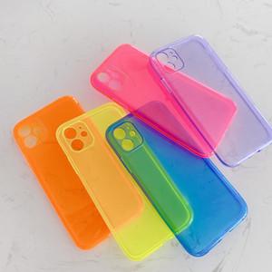 아이폰 (11) 프로 맥스 XR X XS 최대 SE2 7 8 6 6S 플러스 카메라 보호 네온 소프트 실리콘 뒤 표지에 대한 형광 솔리드 색상 투명 전화 케이스