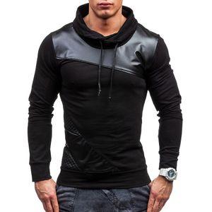 New Autumn Hoodies Fashion Leather Patchwork Tracksuit Hoodie Sweatshirts Male Hip Hop Brand Jacket Solid Slim Coats