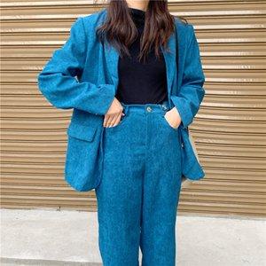 Hzirip мода элегантный работа бизнес брюки костюмы для женщин синий Вельвет блейзер куртка и брюки из двух частей набор офисная форма