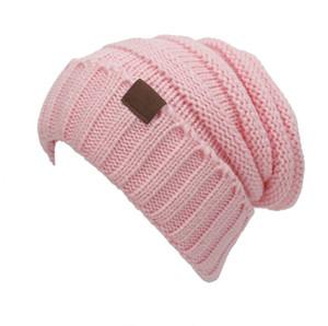 Unisex CC Trendy Hats Winter Knitted Beanie Label Winter Knitted Wool Cap Unisex Folds Casual CC Beanies Hat Solid KKA1604