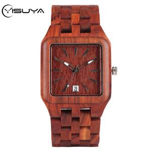 YISUYA Legno vigilanza di modo rossa in legno completa regolabile orologi Bangle uomo Calendario Quarzo Orologi Maschio Orologio Reloj Hombre