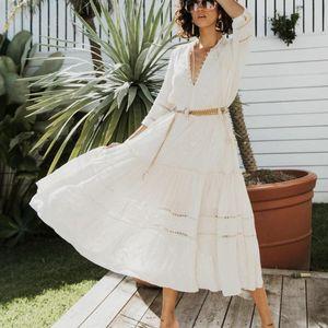 AYUALIN цветочных emboidery белых кружев платья женщины марочных v шея кисточка осень длинное платье 2020 Boho роба партии повелительница vestidos