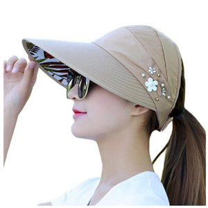 Outdoor Protection UV-Proof Hats For Women Visors Hat Fishing Fisher Beach Hat Folding Wide Brim Summer Travel Sun Cap Floppy